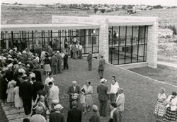 The inauguration of the Academy of the Hebrew Language building at the Hebrew University of Jerusalem campus on 27 May 1959.