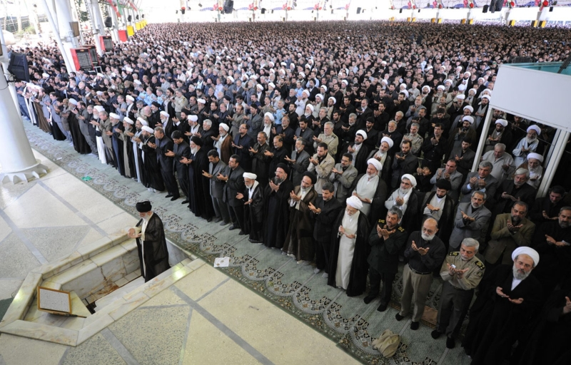 The Supreme Leader of Iran leading Friday prayers in Tehran, 2009.