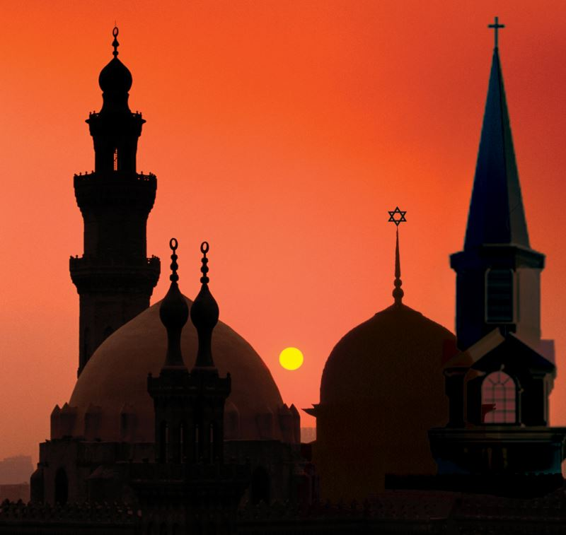 Image of mosques, a church, and a synagogue.