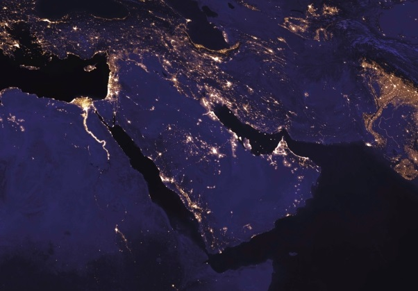 Satellite view of the Middle East at night.