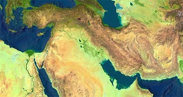 Satellite view of the Middle East.