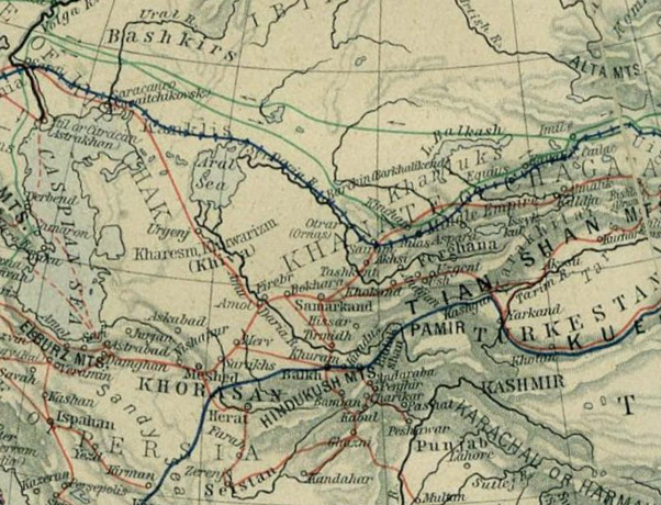 Map of mediæval trade routes in Central Asia.