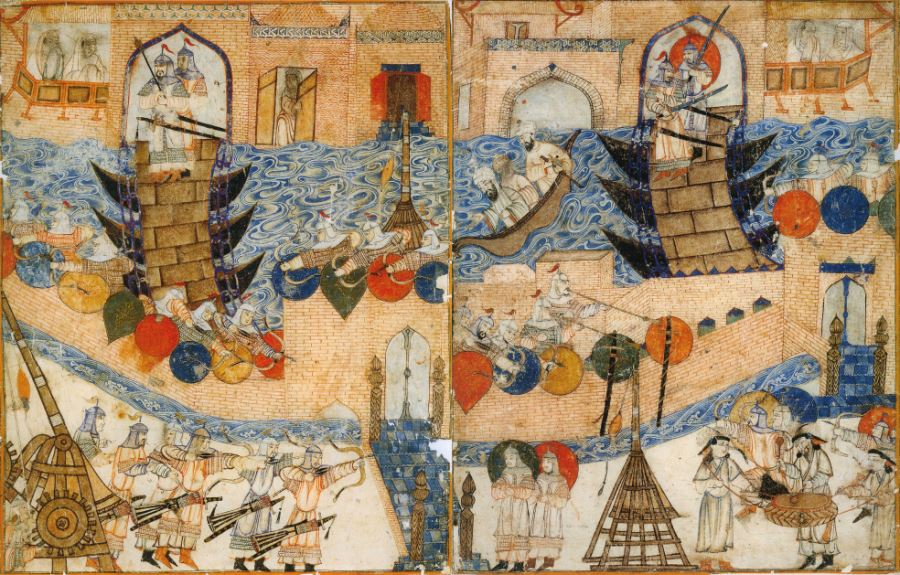 The Mongol conquest of Baghdad, 1258.
