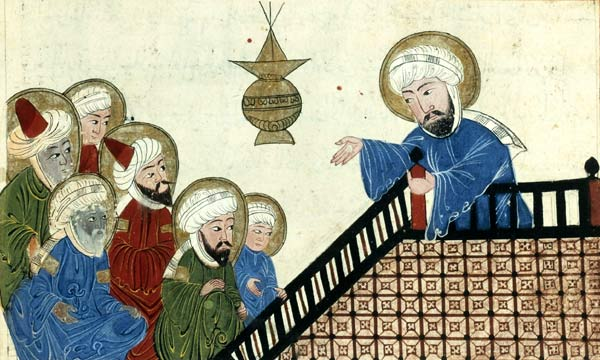 A miniature depicting Muḥammad's farewell sermon from a Fourteenth-Century Īlkhānid manuscript.