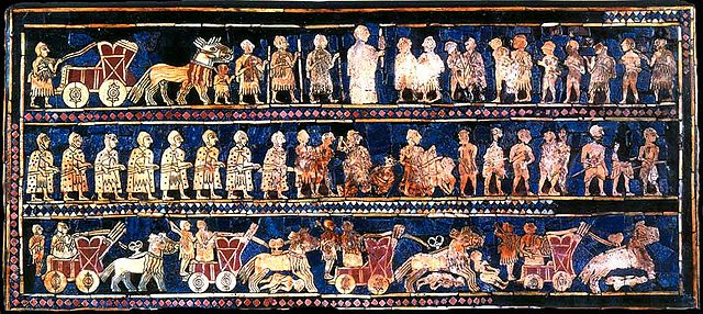 'War'-panel of the Standard of Ur, c 2600 BCE.